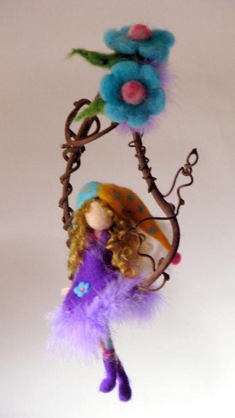 Fairy doll Needle felted Nursery mobile Waldorf inspired   Etsy