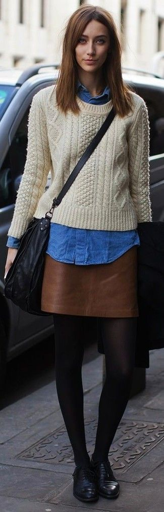 Women's Beige Cable Sweater, Blue Denim Shirt, Brown Leather Mini Skirt, Black Leather Oxford Shoes