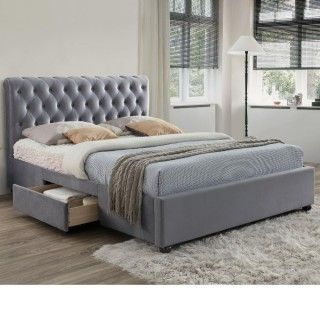 Marlow Grey Velvet Fabric 2 Drawer Storage Bed Bed Frame With