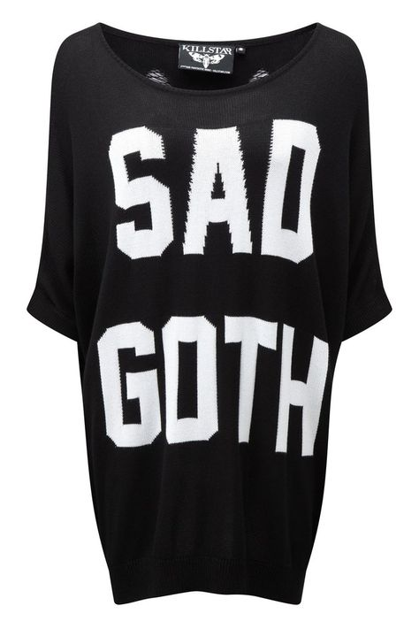Sad Goth Batwing Knit Top [B] | KILLSTAR Intarsia statement knit top with large graphic on the front, with long length and batwing sleeves - as well as a wide neck; perfect for exposing some skin/shoulder.Go from casual-to-glam with zero effort whilst remaining seriously cozy - when you're out, staying warm or simply hiding from the world..