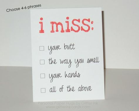 I miss you card / missing you card / Funny ldr card / LDR card / Deployment Card / Long Distance Relationship Card / Long Distance Love card