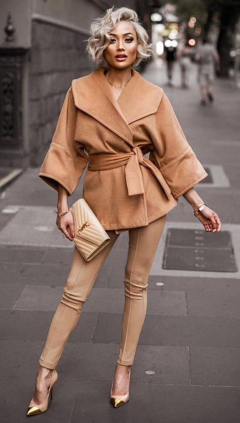 Camel Short Woollen Outwear Coats - New Outfits