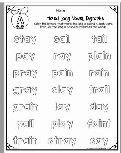 Long Vowel Team Worksheets No Prep Phonics Independent Word Work Packet Vowel Teams Worksheets Digraph Vowel Team Vowel team ea worksheets