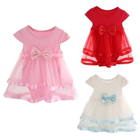 15299b959 Summer Newborn Baby Girl Dress Cotton Bow Baby Rompers For girls ...