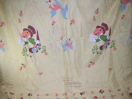 Vintage Jiminy Cricket Novelty Print Fabric Sewing Skirt Panel