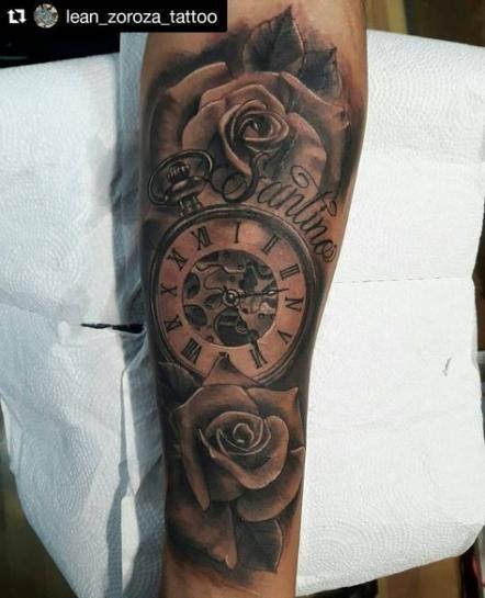 62 Trendy Tattoo Forearm Clock Roses Forearm Tattoos Rose Tattoo Sleeve Rose Tattoo Forearm