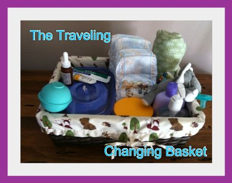 The Traveling Changing Basket by 20minutemom: An easy way to refill your diaper bag so you don't have to think it out each time. Keep it in a central location so you don't have to go scurrying around to find it.  #Babies #Travel #Changing_Basket