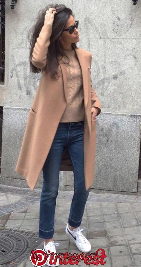 New Moda Casual Chic Jeans Camel Coat Ideas