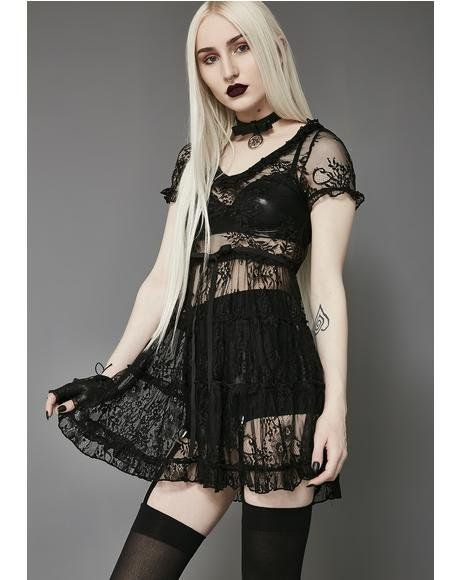 ff96d44bb361 Shadow Kiss Lace Babydoll Dress #dollskill #widow #newarrivals #mercy #black  #gothgirl #drapes #flowy #punk #dresses
