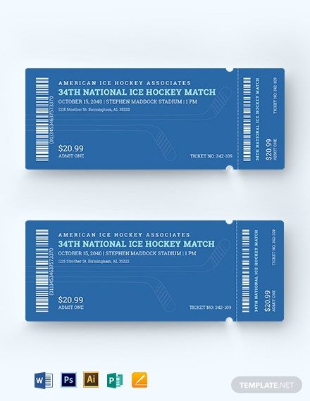 Ice Hockey Ticket Template Free Jpg Illustrator Word Apple Pages Psd Publisher Template Net Ticket Template Ticket Template Free Templates
