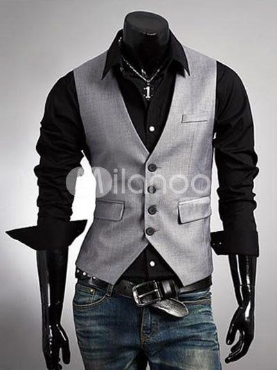 Winter New Men's Fashion Boutique vest Slim dark gray Vest Men's casual Vest