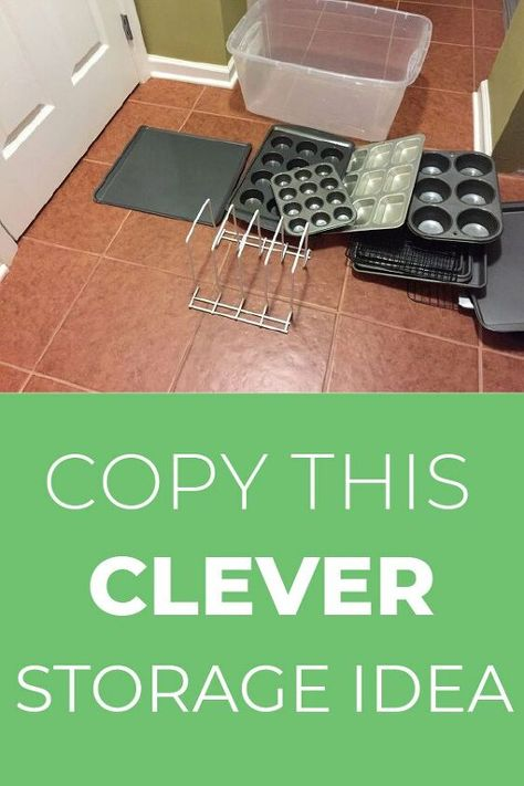 Tired of no place or how to store your cookie sheets, cooling racks and muffin pans? After seeing what she does with a plastic bin, you will never organize your kitchen stuff the same way again! #DIY #Organizing #Kitchen #Hack