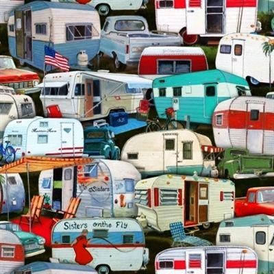 Sister/'s VINTAGE TRAILERS Multi Trailer Camp Camping Retro Cotton Quilt Fabric by the 18 x 22 Fat Quarter