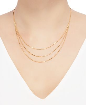 Bead Bar Triple Layer 17 Statement Necklace In 10k Gold Gold Bridal Gold Jewellery Designs Gold Chain Design Bridal Gold Jewellery