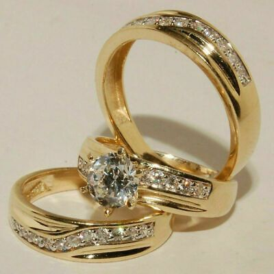 Ebay Ad Diamond Wedding 14k Yellow Gold Fn Trio His Hers Bridal Band Engagement Ring Set In 2020 Wedding Ring Bands Ruby Wedding Rings Wedding Rings Engagement