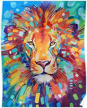 Abstract Lion Poster Products In 2019 Lion Painting
