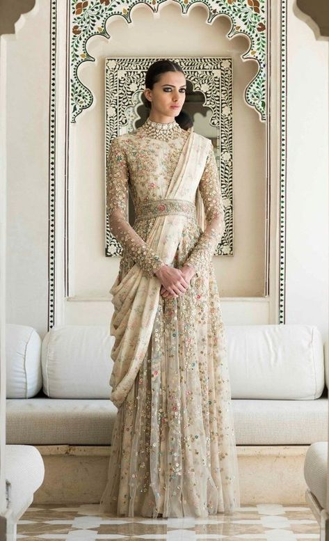 Buy latest indo western gowns and dresses online only on Panache Haute Couture. Find a large variety of party wear and bridal gowns at discounted rates.