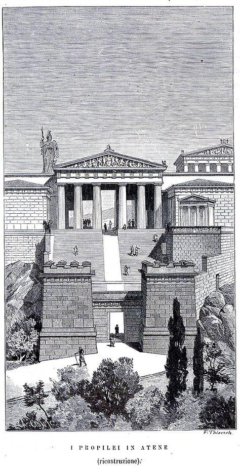 Mnesicle - Propilei - da 437 a 432 a.C. - monumento di ingresso stile dorico in marmo pentelico e pietra grigia di Eleusi - Atene,  Acropoli di --- L'edificio non è mai stato rifinito, dopo essere sorto sulle rovine delle fortificazioni prima micenee e poi pisistratidi. La facciata del corpo centrale è ornata da sei colonne doriche, mentre all'interno presenta alcuni elementi a carattere ionico.