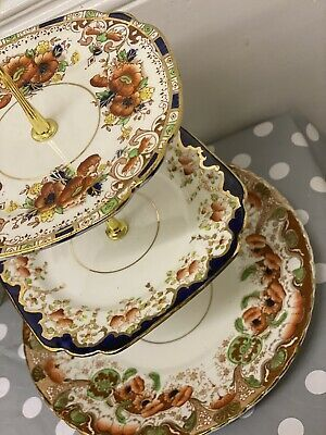 Vintage Mismatched China Mix 3 Tier Cake Stands Floral Tableware Mad Hatters Afternoon Tea Party Wedding Crockery 30 pcs Job Lot of 10