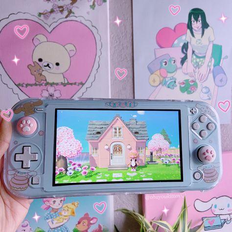 Kawaii Games, Nintendo Switch Case, Kawaii Bedroom, Nintendo Switch Accessories, Otaku Room, Gaming Room Setup, Cute Games, Gamer Room, Animal Crossing Qr