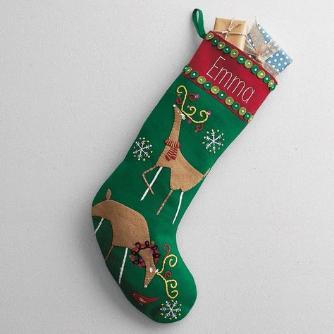 Reindeer D3 Personalised Embroidered Christmas Stocking Luxury Nordic Sack Santa Deluxe