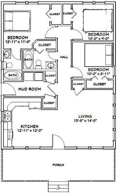 28x36 House 3 Bedroom 2 Bath 1 008 Sq Ft Pdf Floor Plan Model 1p Small House Floor Plans Bedroom Floor Plans Floor Plans