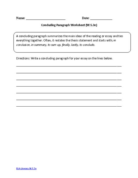 Concluding Paragraph ELA-LiteracyW53e Writing Worksheet Writing