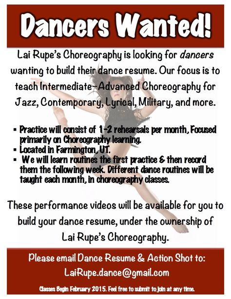 Lai Rupeu0027s Choreography Dance careers, Dancers and Dancing - choreographers sample resume