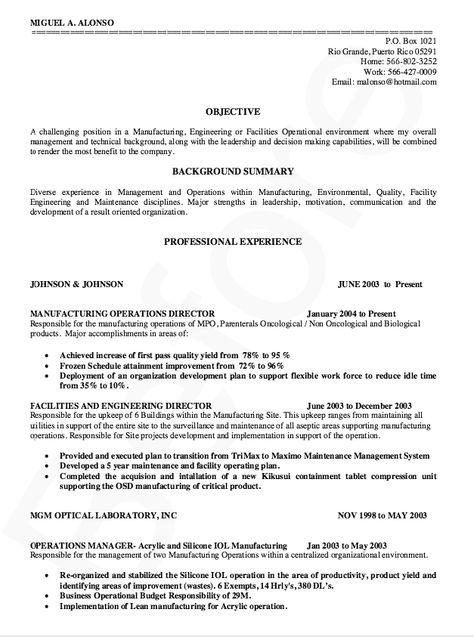 Manufacturing Director Resume Sample - http\/\/resumesdesign - resume for machine operator