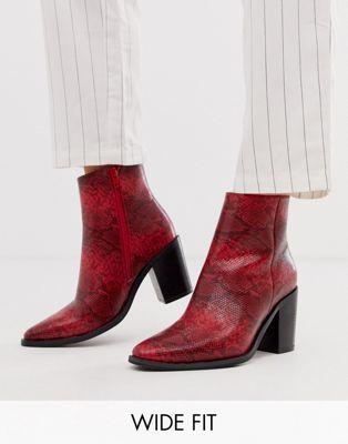 Asos Design Wide Fit Bluebell Czerwone Botki Ze Wzorem Skory Weza Western Boots Snake Shoes Boots