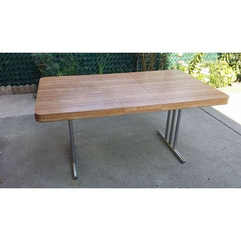 Image Of Vintage 1970s Metal Formica Top Dining Table