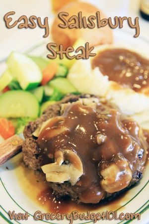 Salisbury steak is an easy throw together dish that is made with ground beef or turkey, bread crumbs, condensed soup and then simmered in a rich mushroom gravy, serve it with garlic smashed potatoes and salad for quick, nearly effortless meal. (click on photo for recipe)