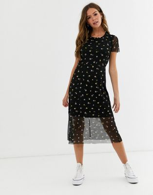 Nobody S Child Overlay Tea Dress In Black Ditsy Print Asos Tea Dress Dresses Casual Dresses