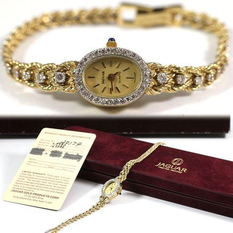 See more #vintage #jewelry #vintagejewelry on our website (link in bio!) #VINTAGE JAGUAR #DIAMOND 14K YELLOW GOLD QUARTZ LADIES WRIST #WATCH