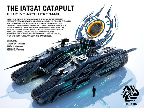 Catapult Illusive Artillery Tank by on DeviantArt Spaceship Art, Spaceship Design, Spaceship Concept, Sci Fi Weapons, Weapon Concept Art, Fantasy Weapons, Science Fiction, Army Vehicles, Armored Vehicles