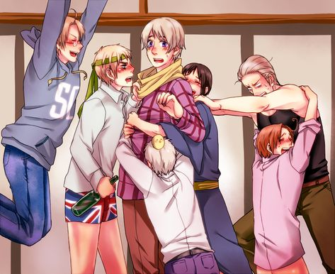 """Okaaaay, now I know what'll happen if all these nations get drunk together... remind me to never let this happen. BTW, what the heck is Prussia doing? I like how Germany is grabbing for Japan an Italy is all like """"NO Germany, don't go for Japan, take me!!!"""""""
