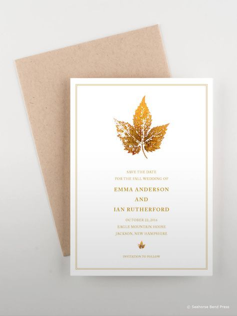 Ideas Wedding Invitations Fall Autumn