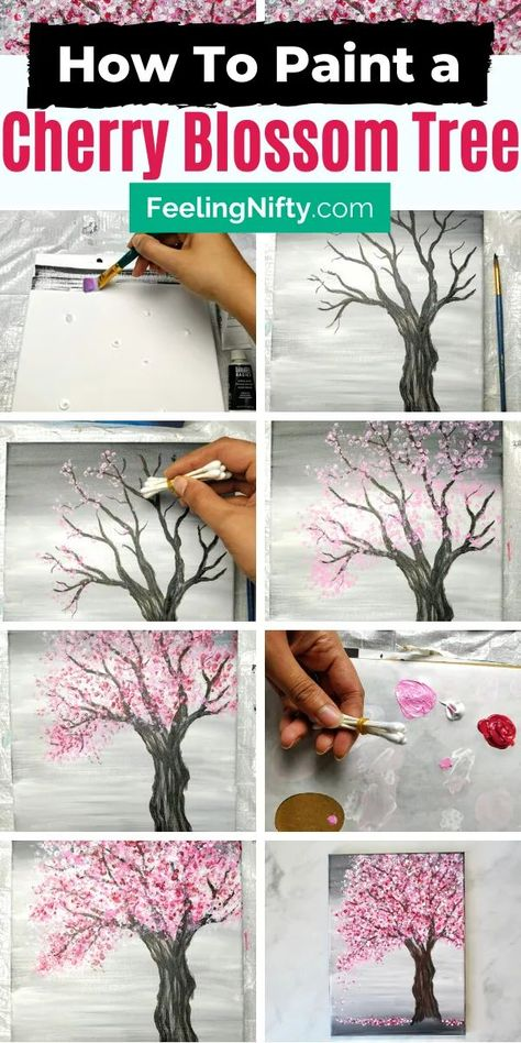 Painting a Cherry Blossom Tree with Acrylics and Cotton Swabs! - - Looking for an EASY cherry blossom tree painting tutorial? Use a canvas, acrylics & Q-Tips to make this simple step-by-step cherry blossom tree painting. Painting Tutorial, Diy Painting, Learn To Paint, Tree Painting, Cherry Blossom Art, Painting Art Projects, Diy Art, Canvas Art Painting, Diy Canvas Art