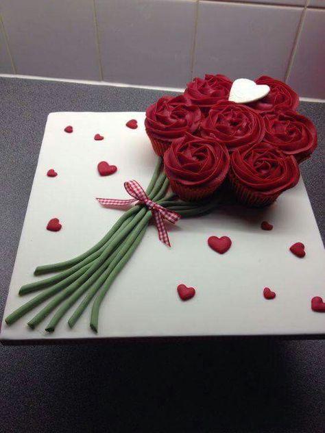 Riityayeʂt Biཞɬhdayʂlay Rose Cupcakes Valentines Day Cakes Valentine Cake Cupcake Bouquet