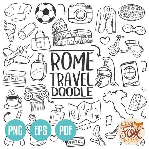 EPS VECTOR ROME Italy Travel Friends and Family Trip Holidays Summer Doodle Icons Clipart Scrapbook