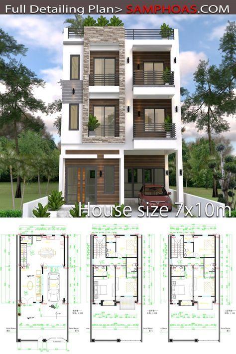 24 Planos de casas de tres pisos