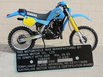 Yamaha It490 29w Australia Compliance Plate Alu Anodised W Engraving Vin Ebay In 2020 Yamaha Motorcycle Parts And Accessories Yamaha Motor