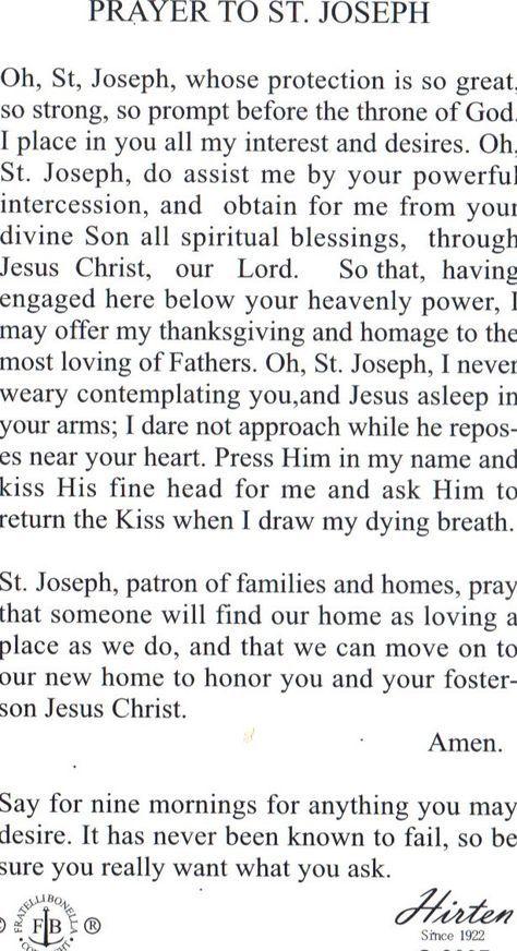 St Joseph Prayer To Sell House St Joseph Prayer Catholic