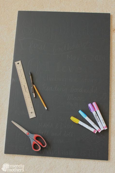 "DIY Birthday Foam ""Chalk"" Board instructions and materials"
