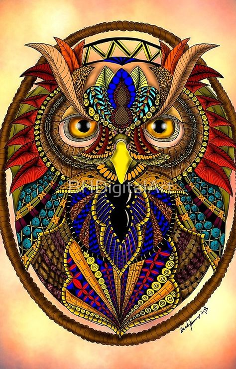 Ornate Owl in ColorThis drawing is a digital zendoodle drawing of an owl. Zendoodles are art done using zentangle patterns to create drawings of anima.