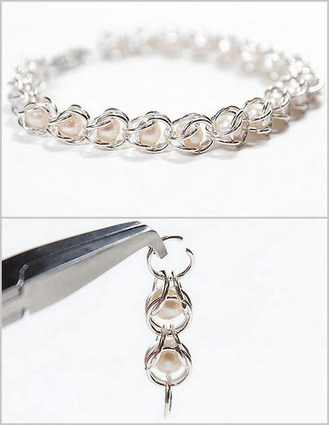 DIY Pearl Chain Maille Bracelet Tutorial from Irina's Cute Box here. I've made chain maille bracelets before - but not like this one. From the comment section it is obvious that you have to make your own jump rings and there are lots of tutorials on. Handmade Wire Jewelry, Beaded Jewelry, Diy Jewellery, Beaded Bracelets Tutorial, Diy Bracelets Chain, Pearl Bracelets, Ankle Bracelets, Jump Ring Jewelry, Chainmaille Bracelet