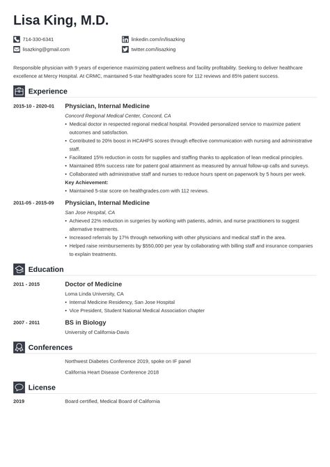 Doctor Resume Example Template Iconic Cv Template Medical Resume Template Resume Examples