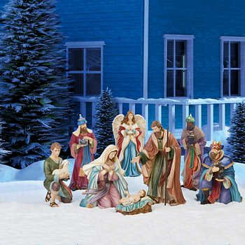 Outdoor Nativity 9 Piece Set For Decorative Indoor Outdoor Use Outdoor Nativity Outdoor Nativity Sets Christmas Collectibles