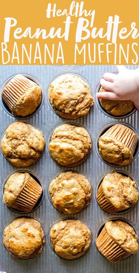 These Healthy Peanut Butter Banana Muffins are naturally sweetened with maple syrup, and packed full of healthy ingredients you can feel good about. They make a perfect after workout snack, make ahead breakfast or a snack for kids and toddlers! | naturally sweetened, | no sugar | whole wheat | easy | greek yogurt | BLW | Baby Led Weaning | toddler food ideas | kid food ideas | after school snacks | post workout snacks | make ahead snack ideas | freezer friendly recipes | freezer breakfast ideas
