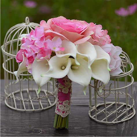 Wedding Accessories Bridal Bouquets Holding Flower Artificial Silk Flower Calla Lily Bridal Bouquets Wedding Flowers